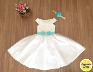 Vestido Social off-white com Azul - Infantil