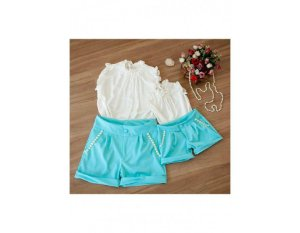 Conjunto Shorts Azul e Blusa Branca - Mãe e Filha