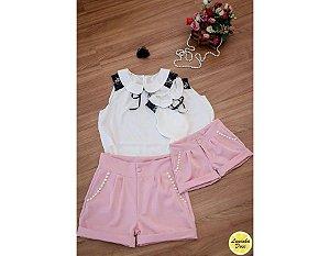 Conjunto Shorts e Blusa Branca - Mãe e Filha