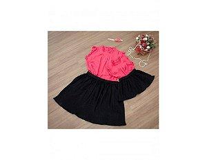Conjunto Saia Plissada Preta e Blusinha Pink - Mãe e Filha