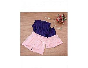Shorts Rosê e Blusa Azul - Mãe e Filha
