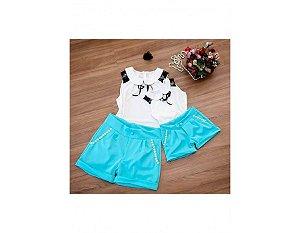 Conjunto Shorts e Blusinha Branca - Mãe e Filha