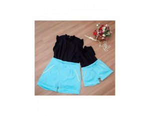 Conjunto Shorts Azul Claro e Blusinha Preta - Mãe e Filha