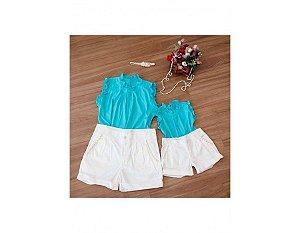 Conjunto Shorts Branco e Blusa Azul - Mãe e Filha