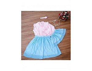 Conjunto Saia Plissada Azul e Blusinha Rosa - Mãe e Filha