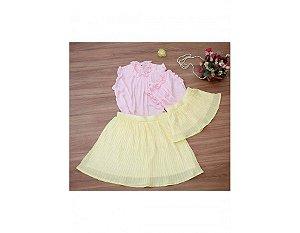Conjunto Saia Plissada Amarela e Blusinha Rosa - Mãe e Filha