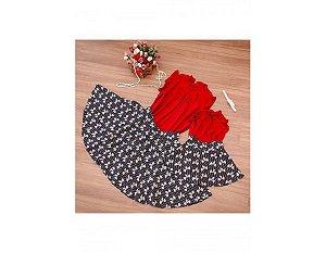 Conjunto Saia Estampada Laços e Blusinha Vermelha - Mãe e Filha