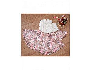 Conjunto Saia Estampada Floral Rosa e Blusinha Branca - Mãe e Filha