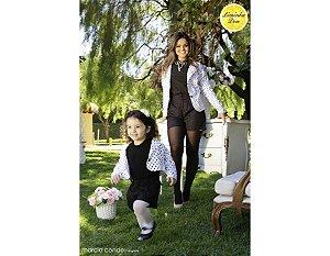 Conjunto Shorts e Casaco Branco de Poa Preto - Tal Mãe Tal Filha