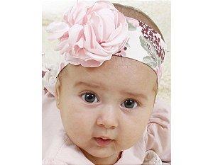 Faixa de Cabelo Infantil Branca com Floral Rose
