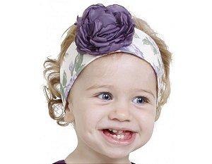 Faixa de Cabelo Infantil com Flor Lilás