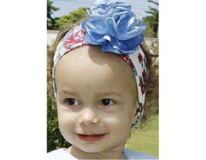 Faixa de Cabelo Infantil Floral Azul e Vermelho