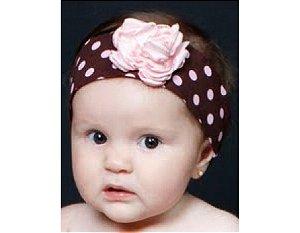 Faixa de Cabelo Infantil Marrom com Rosa