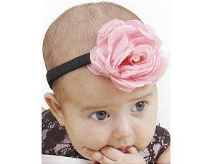 Faixa de Cabelo Infantil Preta com Rosa