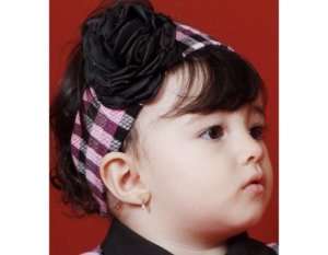 Faixa de Cabelo Infantil Xadrez Rosa com Preto