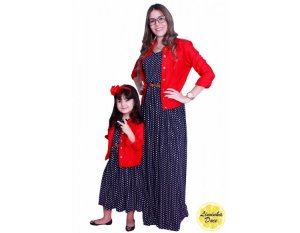 Conjunto Vestido Longo e Jaqueta Vermelha - Tal Mãe Tal Filha