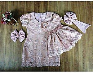 Vestido de Renda Rosê - Mãe e Filha