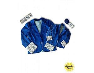 Casaco Azul com Detalhes Florais - Tal Mãe Tal Filha