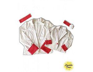 Casaco Branco com detalhes Vermelho - Tal Mãe Tal Filha