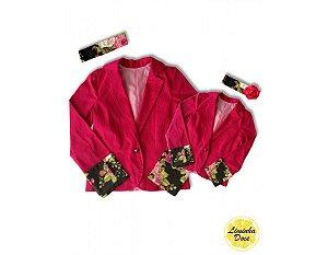 Casaco Rosa Pink com Detalhes Floral - Tal Mãe Tal Filha