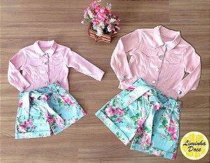 Conjunto Short Floral e Jaqueta - Mãe e Filha