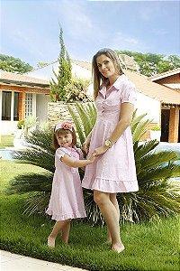 Vestido com Estampa de Oncinha Rosa - Tal Mãe Tal Filha