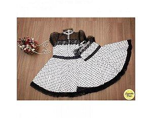 Vestido Branco de Poa Preto - Mãe e Filha