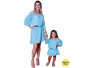 Vestido Social Azul Claro - Tal Mãe Tal Filha