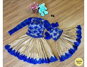 Vestido de Luxo Azul e Dourado - Mãe e Filha
