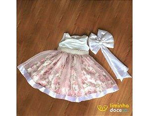 Vestido de Daminha Rose com Floral Rosa - Infantil