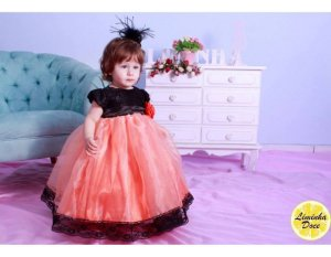 Vestido de Daminha Preto e Laranja - Infantil