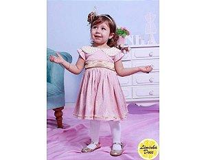 Vestido Social Rosa e Dourado - Infantil