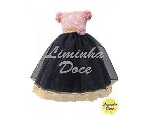 Vestido de Daminha Rosa e Azul - Infantil