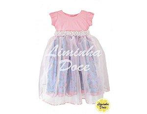 Vestido de Festa Rosa Floral - Infantil