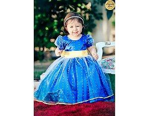 Vestido Azul e Faixa Amarela para Daminha - Infantil