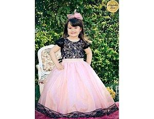 Vestido de Daminha Rosa com Preto - Infantil
