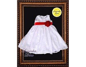 Vestido de Renda Branca com Laço Vermelho - Infantil