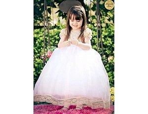 Vestido de Luxo Rosa para Daminha - Infantil
