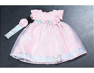 Vestido de Festa Rosa Floral e Organza - Infantil