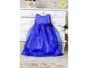 Vestido de Princesa Azul com Organza - Infantil