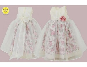Vestido de Princesa Branco com Floral - Infantil