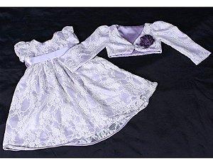 Vestido para Batizado de Renda Branca com Lilás mais Bolero - Infantil
