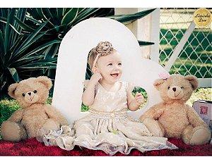 Vestido de Renda Dourada para Batizado - Infantil