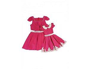 Vestido Pink com Pérolas e Renda - Mãe e Filha