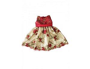 Vestido de Tule Bordado Vermelho - Infantil