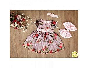 Vestido de Tule Bordado Rosa - Infantil
