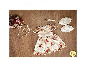 Vestido de Tule Bordado Branco - Infantil
