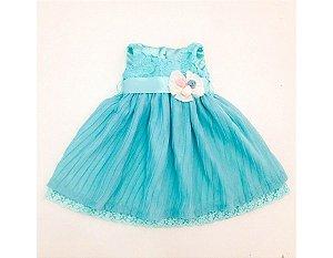 Vestido de Festa Plissado Azul - Infantil