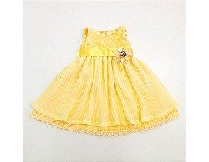 Vestido de Festa Plissado Amarelo - Infantil