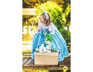 Vestido com Tema da Princesa Elsa  Frozen - Infantil